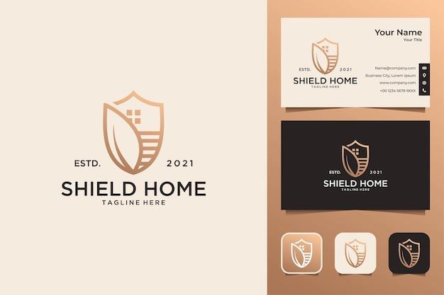 Escudo elegante para casa com logotipo da folha e cartão de visita