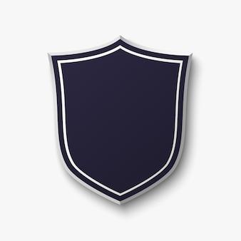 Escudo em branco, azul sobre fundo branco.