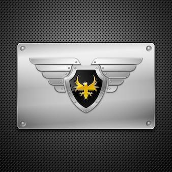 Escudo em uma placa de metal.