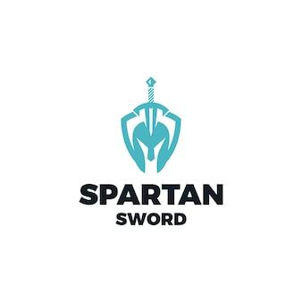 Escudo espartano com modelo de design de logotipo em espada