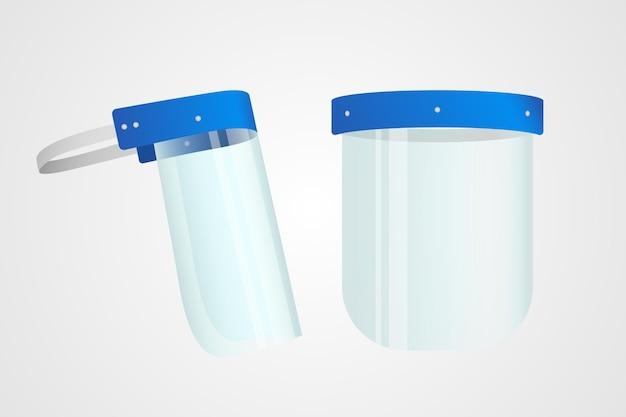 Escudo facial de plástico realista para proteção