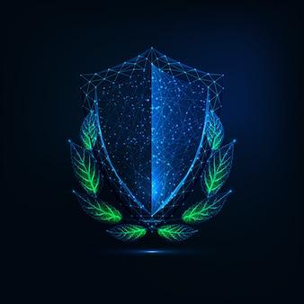 Escudo futurista com coroa de louros verde