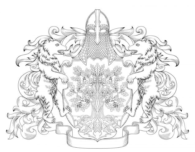 Escudo heráldico do emblema real do brasão imperial com coroa e coroa de louros