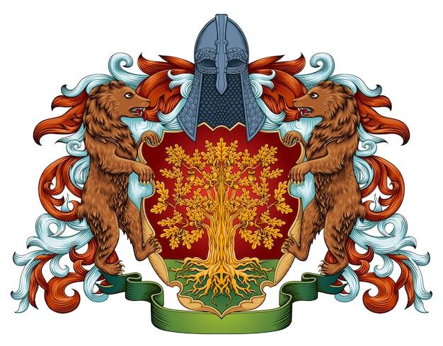 Escudo heráldico do emblema real do brasão imperial com coroa e louro