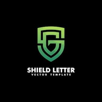 Escudo letra g conceito ilustração vetorial modelo
