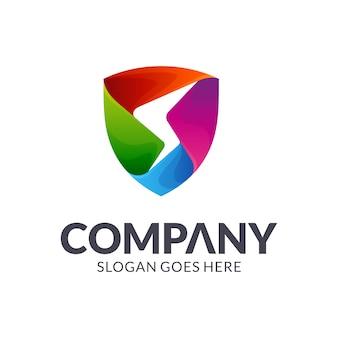 Escudo letra s logotipo colorido