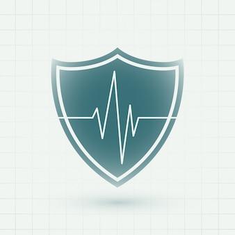 Escudo médico de saúde com símbolo de linhas de batimento cardíaco