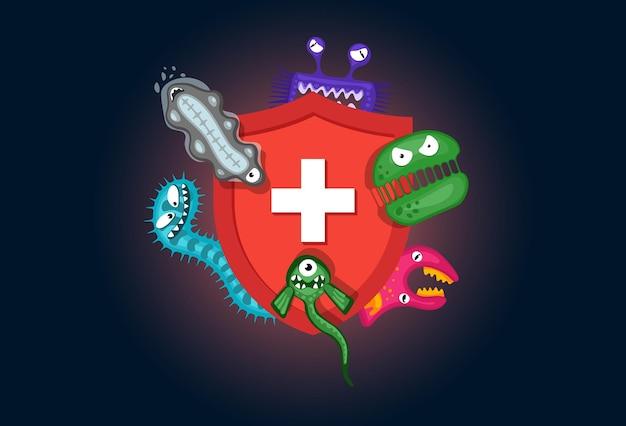 Escudo médico higiênico vermelho conceito de sistema imunológico protegendo contra germes de vírus e bactérias planas