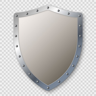 Escudo medieval de metal realista isolado