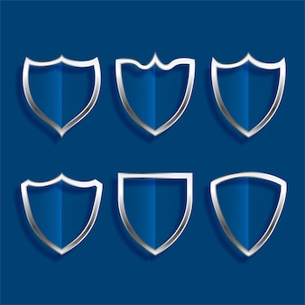 Escudo metálico emblemas ícones brilhantes cenografia