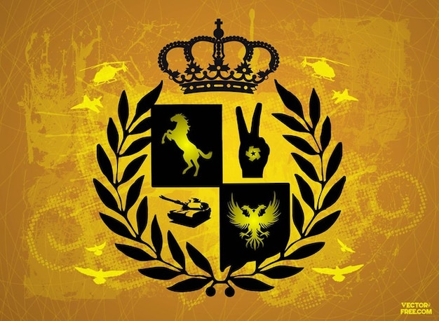 Escudo militar no fundo do ouro