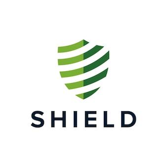 Escudo minimalista geométrico criativo simples design de logotipo moderno