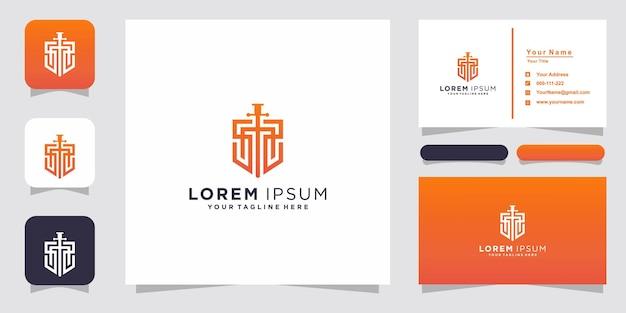 Escudo, modelo de logotipo ss inicial e cartão de visita