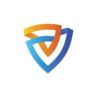 Escudo no modelo de design de logotipo de forma de triângulo