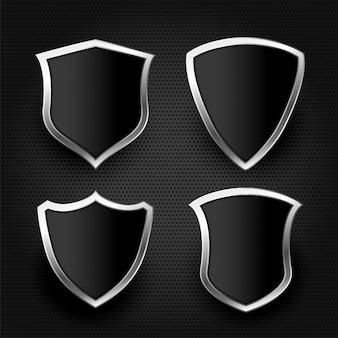 Escudo preto com conjunto de moldura de prata