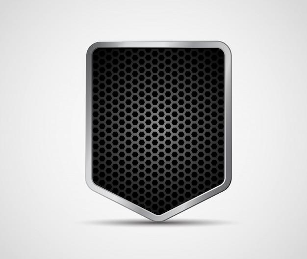 Escudo preto com estrutura de metal