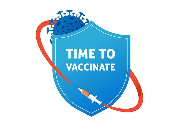 Escudo, proteção contra coronavírus, projeto de conceito de vacinação. desenho de banner - seringa com