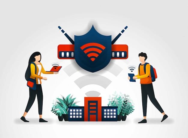 Escudo protege o acesso dos alunos através de wi-fi