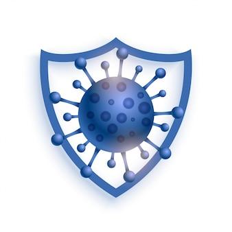 Escudo protegendo vírus para entrar no fundo do conceito