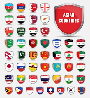 Escudo protetor com bandeiras e o nome dos países da ásia. definir escudos