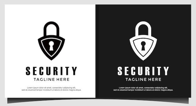 Escudo protetor de cadeado para ilustrador de design de logotipo, ícone de segurança