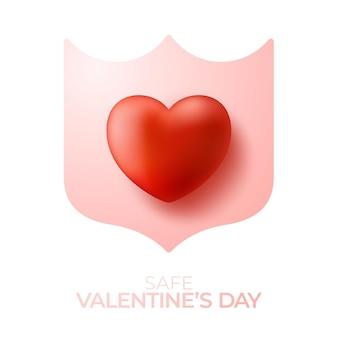 Escudo protetor rosa com forma de coração 3d no meio.