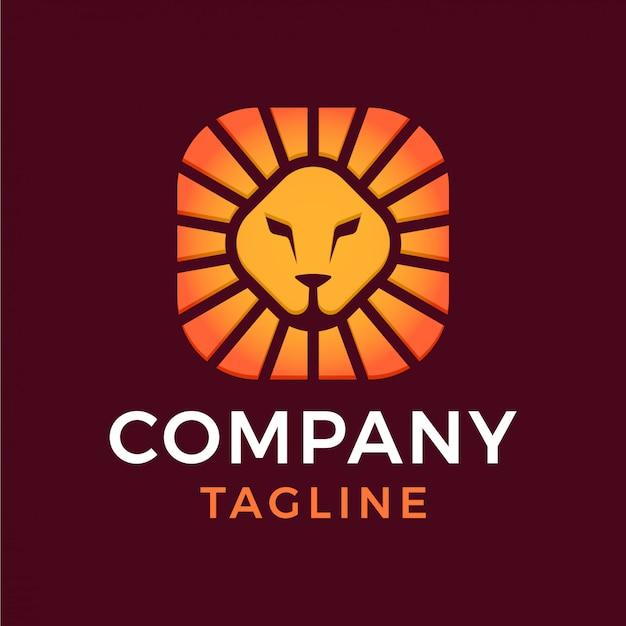 Escudo quadrado mínimo abstrato leão cabeça sol gradiente 3d logotipo