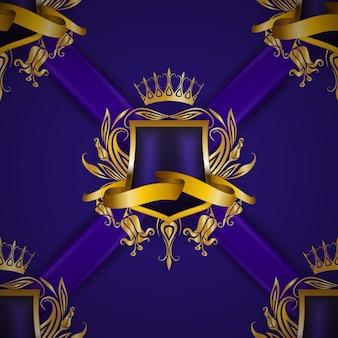 Escudo real dourado com elementos florais
