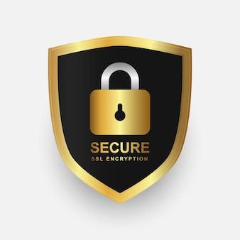 Escudo seguro dourado e design de crachá