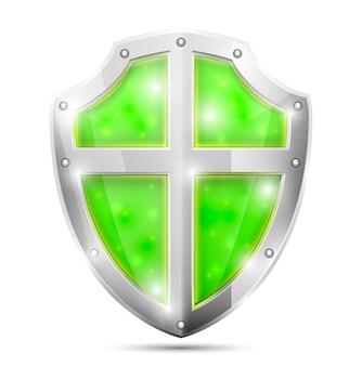 Escudo verde mágico brilhante