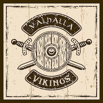 Escudo viking e espadas cruzadas vetoriais emblema marrom, etiqueta, distintivo ou camiseta impressa no fundo com texturas grunge