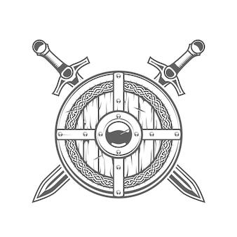 Escudo viking redondo com padrão celta e duas espadas cruzadas, emblema do cavaleiro medieval com armadura