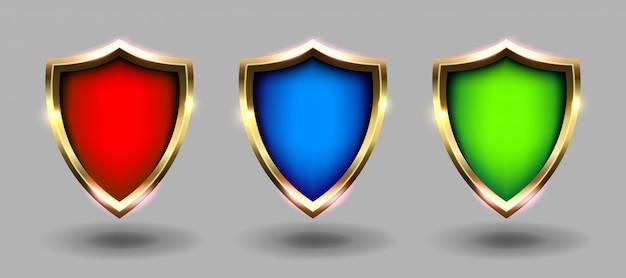 Escudos coloridos conjunto banner, fundo cinza. ilustrações realistas de brasões vermelhos, azuis e verdes. segurança e proteção