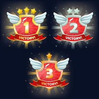 Escudos com bandeira da vitória, estrelas e asas