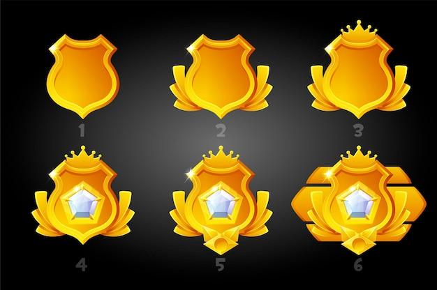 Escudos de classificação de ouro para o jogo.