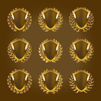 Escudos de ouro com coroa de louros