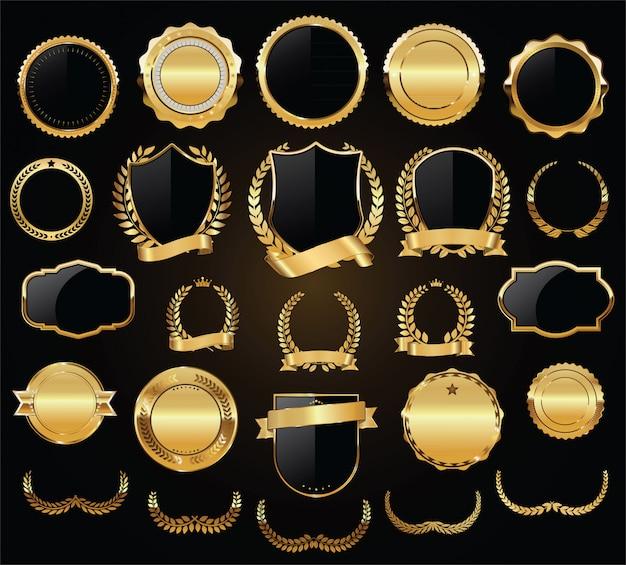 Escudos de ouro laurel grinaldas e emblemas vector coleção