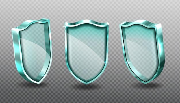 Escudos de vidro conjunto painéis de tela acrílica azul em branco