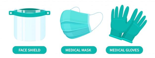 Escudos faciais, máscaras médicas e luvas de borracha são dispositivos de proteção contra vírus corona para médicos.