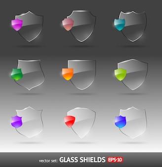 Escudos heráldicos de vidro - conjunto.