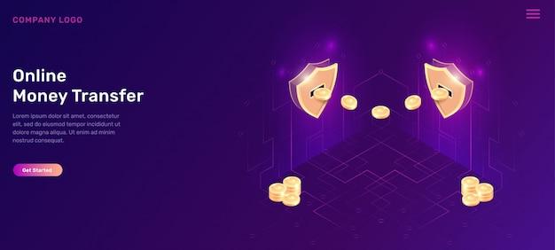 Escudos isométricos de transferência de dinheiro online com moedas