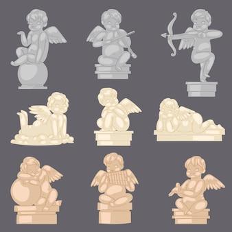 Escultura de cupido angelical de estátua de anjo e personagem adorável bebê com asas no dia dos namorados ou conjunto de ilustração de dia do casamento do antigo monumento de mármore no fundo