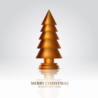 Escultura de decoração dourada da árvore de natal. design de escultura 3d elegante, real e luxuoso.