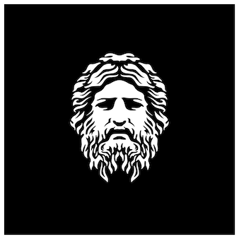Escultura de deus da grécia antiga rosto de filósofo como zeus tritão netuno com logotipo de barba e bigode