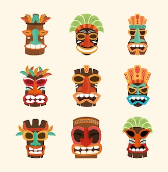 Escultura de madeira de rosto africano tiki isolada no branco, ilustração de conjunto de ícones