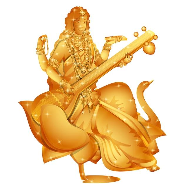 Escultura dourada da deusa saraswati com efeito de luzes