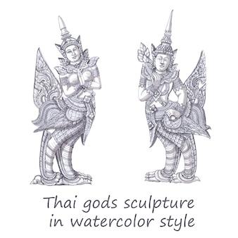 Escultura tailandesa dos deuses no estilo da aguarela.