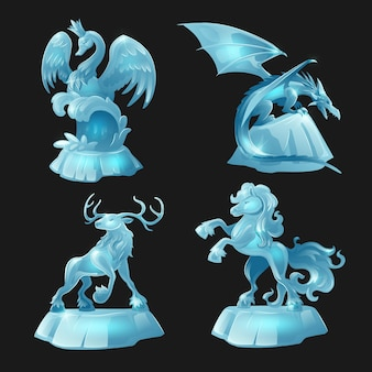 Esculturas de gelo de cavalo, dragão, cisne e veado isoladas no preto