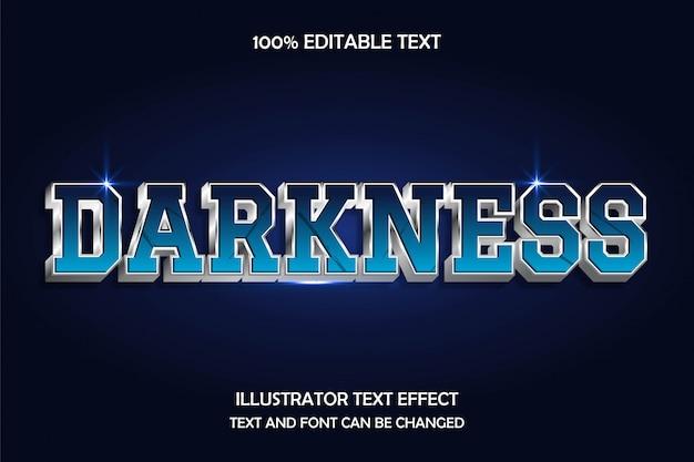 Escuridão, efeito de texto editável 3d estilo moderno metal sombra