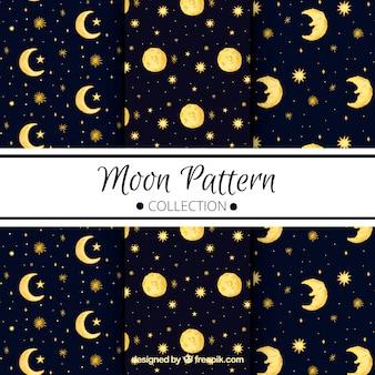 Escuro, azul, padrões, luas